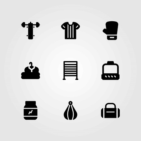 Fitness vector icons set. bench press, clothing and boxing Illustration