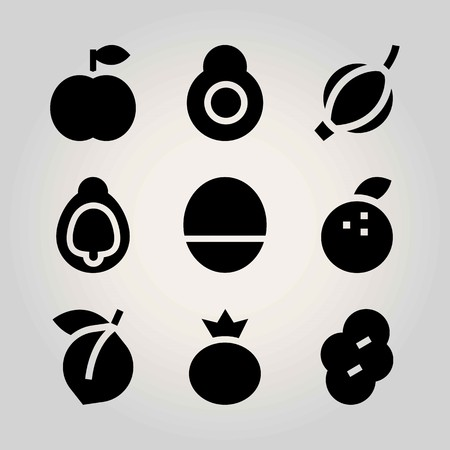 Fruits vector icon set. berry, apricot, avocado and fig