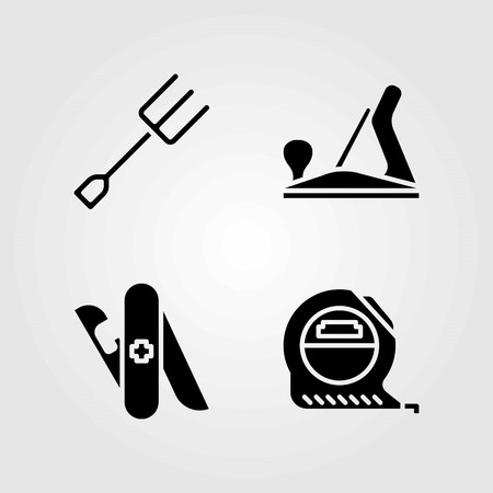 Tools vector icons set. Tape, multi-tool and wood plane.