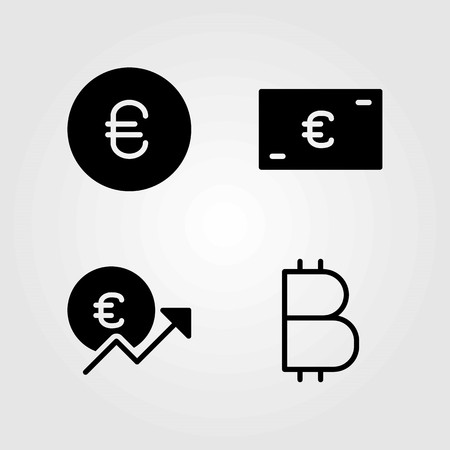 Sign vector icons set. Coin and euro illustration.