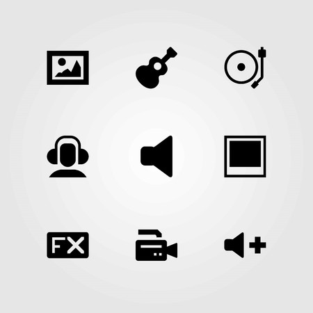 Multimedia vector icons set. Volume, turntable and speaker.