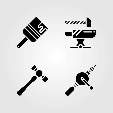 Tools vector icons set. hand drill, paint brush and anvil Çizim