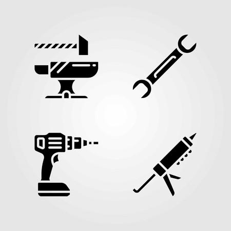 도구 벡터 아이콘을 설정합니다. 모루, 스패너 및 실란트 총.