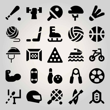 Sport vector icon set. muscle, weightlifting, baseball and ice hockey Stock Illustratie