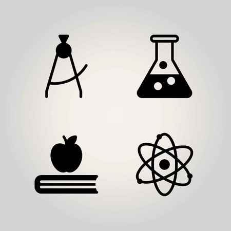 Science vector icon set. Atom, flask and book illustration. 向量圖像