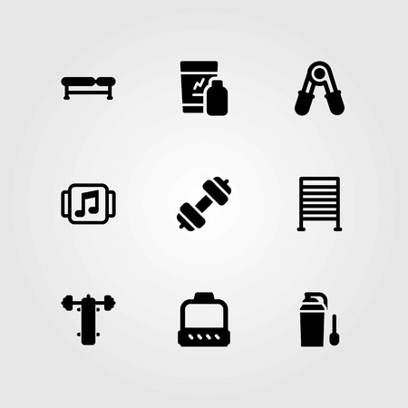 Fitness vector icons set. Music player, shakes and bench.