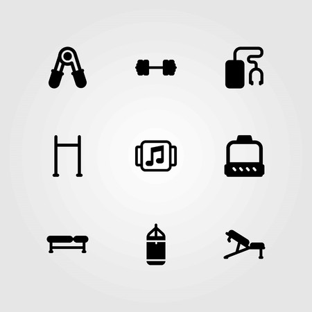 Fitness vector icons set. block, punching bar and pull up