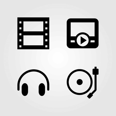 Multimedia vector icons set. movie player, headphones and film roll