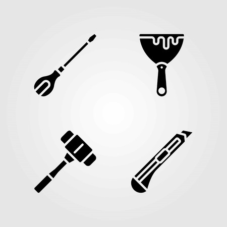 Tools vector icons set. Screwdriver, mallet and cutter.