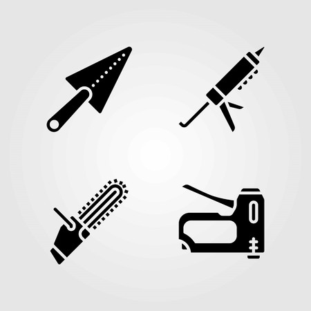 Tools vector icons set. trowel, staple gun and chainsaw