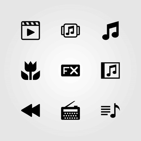 Multimedia vector icons set. fx, radio and macro Illustration