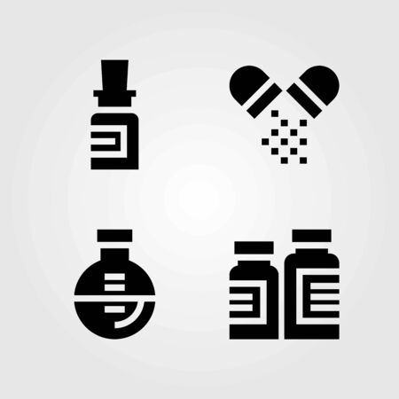 Medical vector icons set. medicine, flask and pills