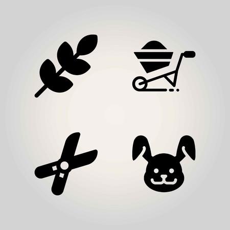 Boerderij vector icon set. tarwe, konijn, snoeischaar en kruiwagen Stock Illustratie