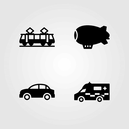 Transport vector icons set. zeppelin, car and tram