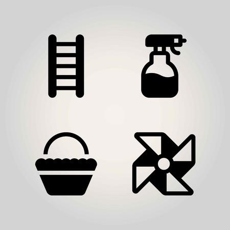 Farm vector icon set. sprayer, basket, pinwheel and ladder