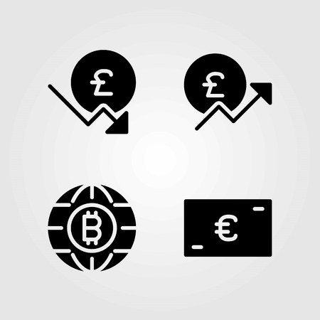 Sign vector icons set. coin, euro and pound sterling Illusztráció