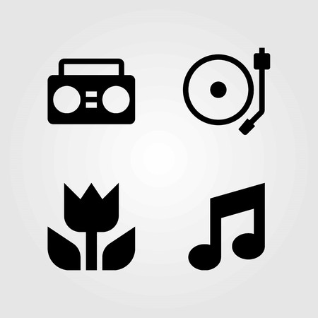 Multimedia vector icons set. turntable, boombox and musical note Çizim