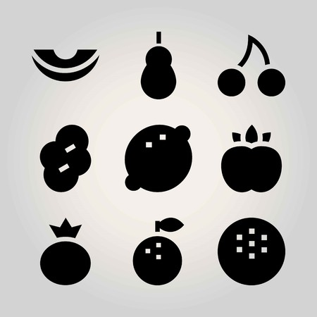 Fruits vector icon set. berry, peach, prune and quince