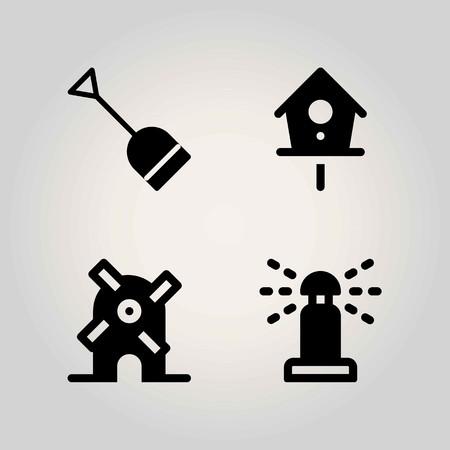 Farm vector icon set. sprinkle, shovel, windmill and birdhouse
