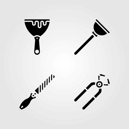 Tools vector icons set. chisel, scraper and plunger Illustration