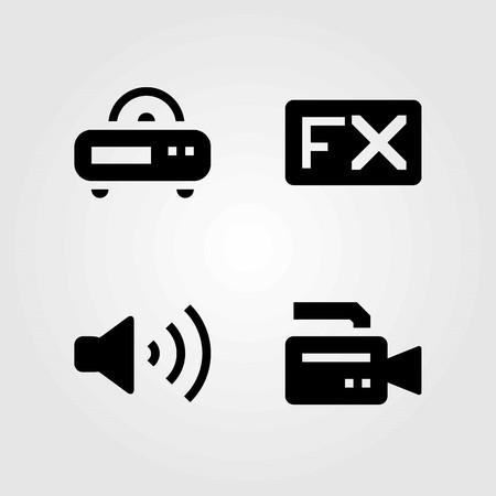Multimedia vector icons set. volume, radio and video camera Illustration