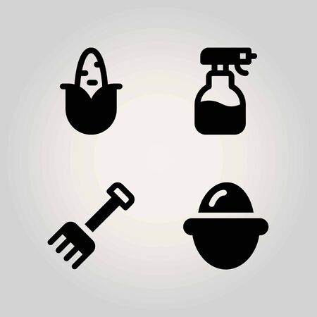 Agriculture vector icon set. sprayer, egg, corn and rake