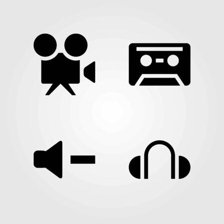 Multimedia vector icons set. headphones, video camera and volume