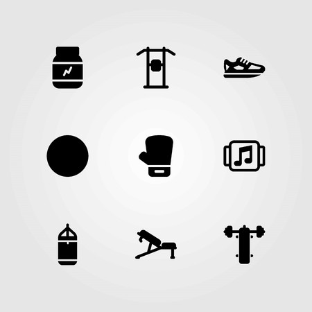 Fitness vector icons set. boxing glove, protein and bench press Illustration