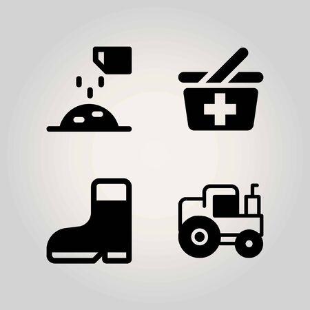 Farm vector icon set. basket, fertilizer, ground and shopping baket