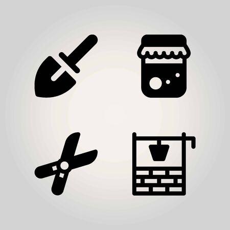 Boerderij vector icon set. goed, honing, snoeischaar en troffel