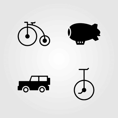 Transport vector icons set. jeep, unicycle and bicycle Stok Fotoğraf - 94102993