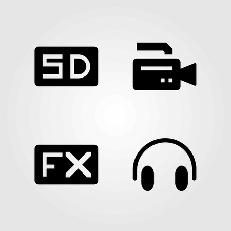 Multimedia vector icons set. headphones, sd card and video camera