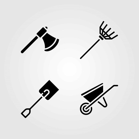 Garden vector icons set. rake, spade and wheelbarrow Ilustrace