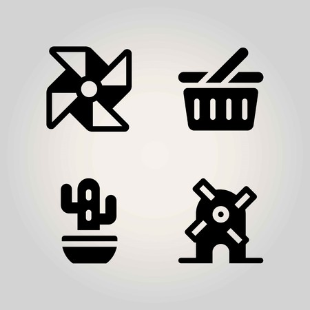 Agriculture vector icon set. pinwheel, basket, shopping basket and windmill