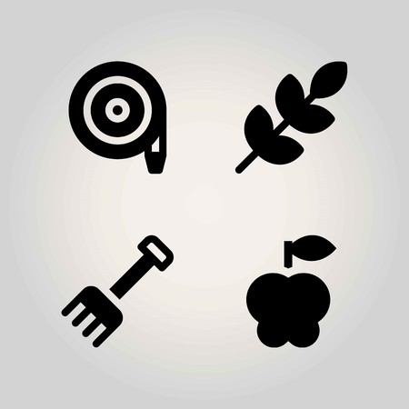 Agriculture vector icon set. rake, apple, wheat and hose