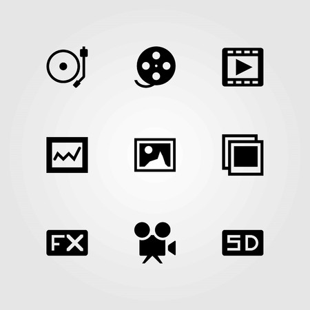 Multimedia vector icons set. photo, analytics and video camera Illustration