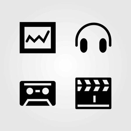 Multimedia vector icons set. cassette, headphones and analytics