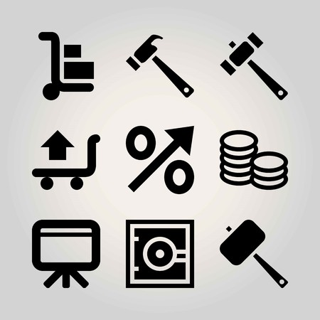 Business vector icon set. safebox, shopping, cart and trolley