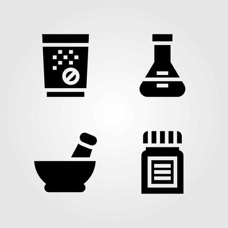 Medical vector icons set. medicine, mortar and tablets 向量圖像