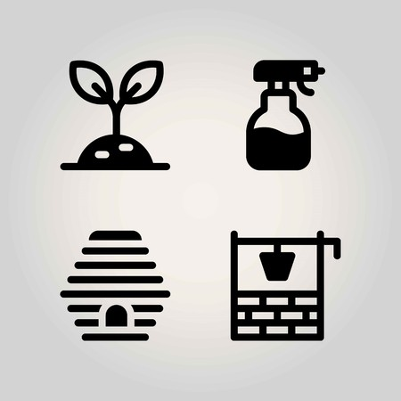 Agriculture vector icon set. well, beehive, sprayer and sprout