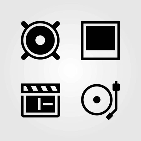 Multimedia vector icons set. speaker, photo and clapperboard