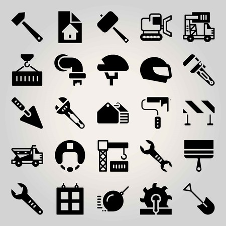Construction vector icon set. dumper, crane, wrench and paint roller