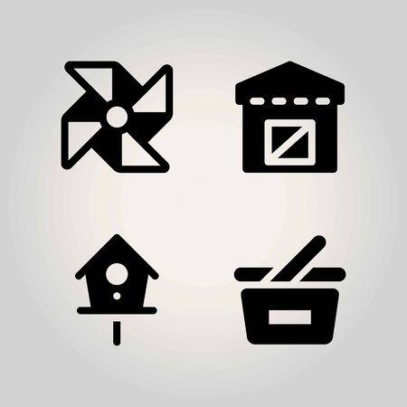 Farm vector icon set. warehouse, birdhouse, basket and pinwheel