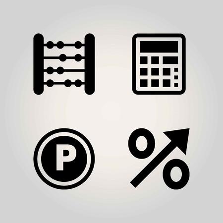 School vector icon set. Percentage, calculator and abacus.
