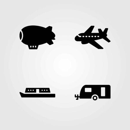 Transport vector icons set. zeppelin, caravan and boat
