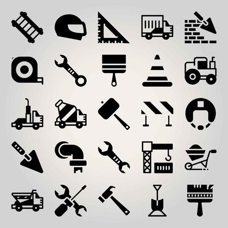 Construction vector icon set. cone, concrete mixer, shovel and brickwall