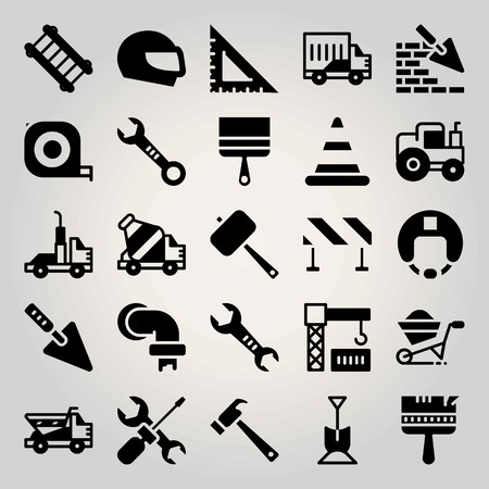 Construction vector icon set. cone, concrete mixer, shovel and brickwall
