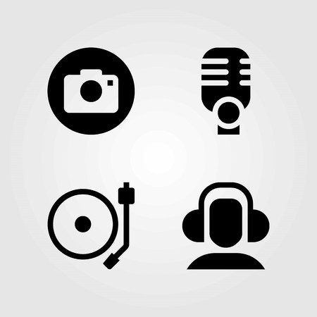 Multimedia vector icons set. photo camera, headphones and turntable