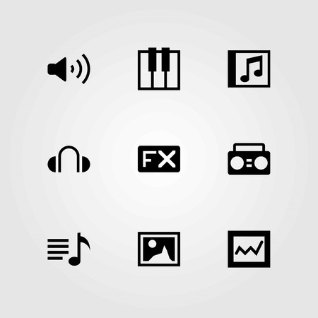 Multimedia vector icons set. Analytics, playlist and volume.