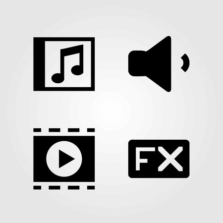 Multimedia vector icons set. compact disk, fx and volume